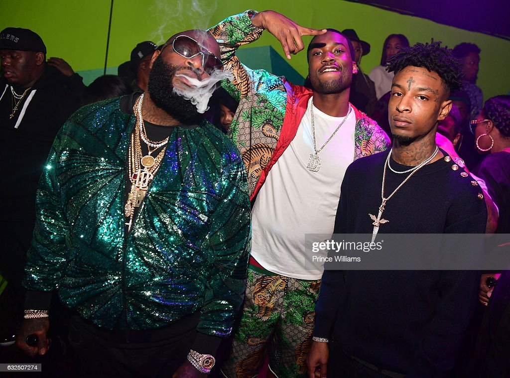 Rick Ross, Meek Mill and 21 Savage attend Rick Ross Birthday Bash at XS Lounge on January 23, 2017 in Atlanta, Georgia.