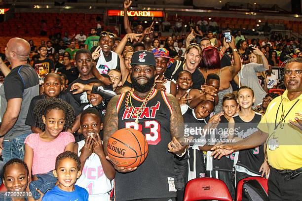 Rick Ross participates in Court of Dreams Celebrity Basketball Game at American Airlines Arena on April 19 2015 in Miami Florida