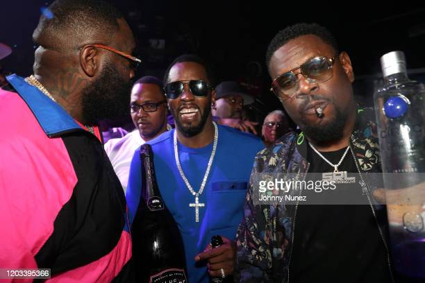 Rick Ross Sean Diddy Combs and Slab attend Rick Ross Diddy The Big Game Weekend 2020 at Cameo on January 31 2020 in Miami Florida