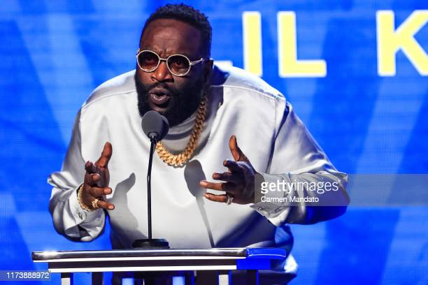 Rick Ross speaks onstage at the BET Hip Hop Awards 2019 at Cobb Energy Center on October 5 2019 in Atlanta Georgia