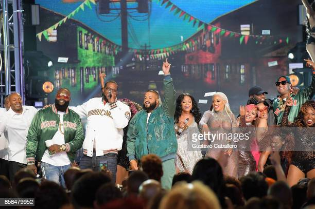 Rick Ross Uncle Luke Dj Khaled Trina Keyshia Ka'Oir Cardi B and Flo Rida perform onstage during the BET Hip Hop Awards 2017 at The Fillmore Miami...