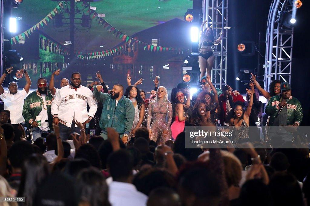 Rick Ross, Uncle Luke, Dj Khaled, Trina, Keyshia Ka'Oir, Cardi B, and Flo Rida perform onstage at BET Hip Hop Awards 2017 on October 6, 2017 in Miami Beach, Florida.