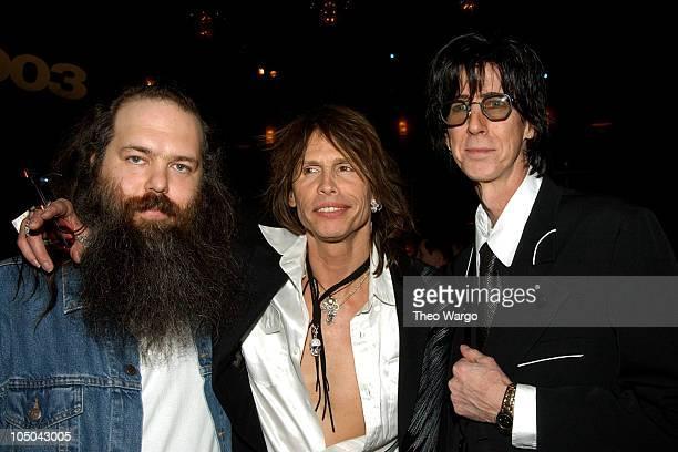 Rick Rubin Steven Tyler of Aerosmith and Ric Ocasek of The Cars