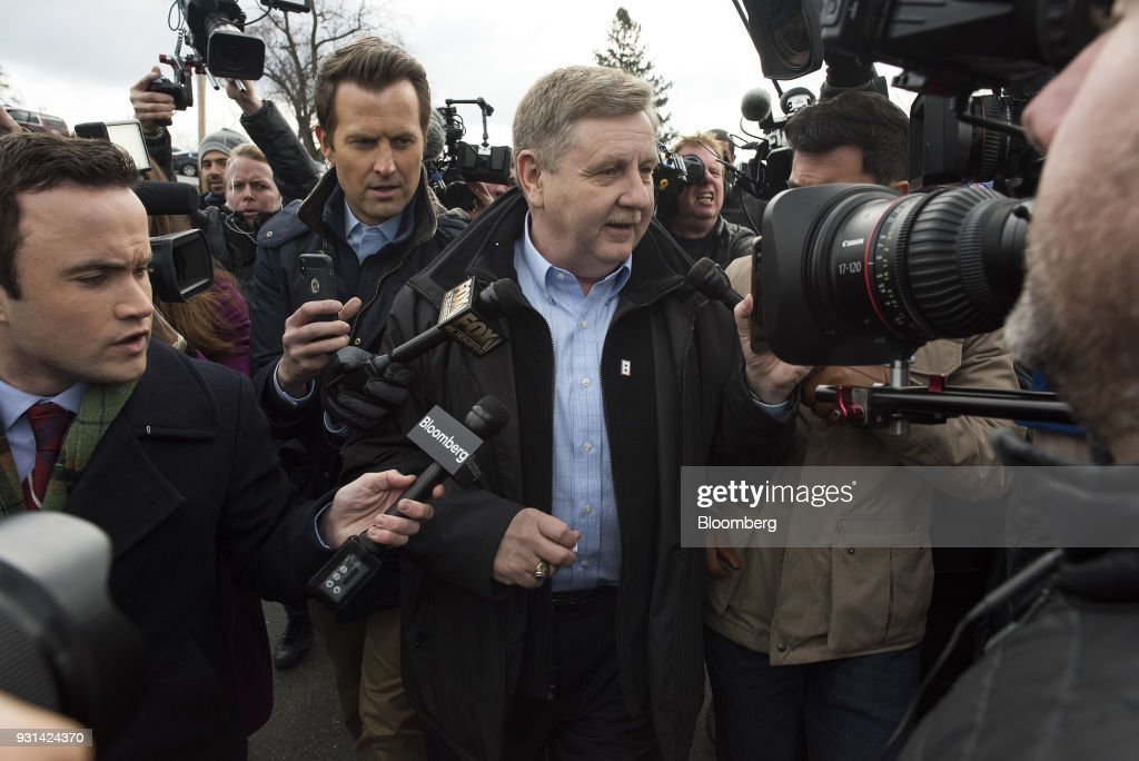Rick Saccone, Republican candidate for the U.S. House of Representatives, speaks to members of the media after voting at the Mount Vernon Presbyterian Church polling location in McKeesport, Pennsylvania, U.S., on March 13, 2018. Saccone and Democrat Conor Lamb are competing in the 18th District, where President Donald Trump won by almost 20 points in the 2016 presidential election, to replace Republican Tim Murphy who resigned last October amid personal scandal. Photographer: Ty Wright/Bloomberg via Getty Images