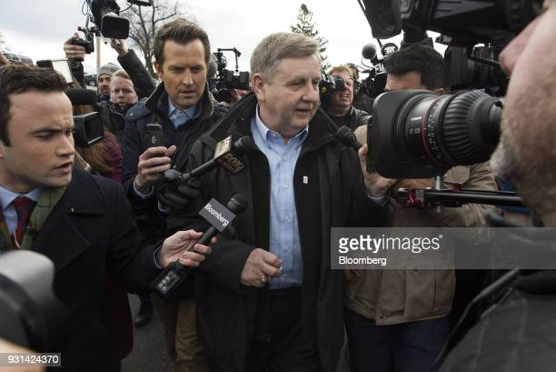 Rick Saccone Republican candidate for the US House of Representatives speaks to members of the media after voting at the Mount Vernon Presbyterian...