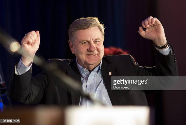 Rick Saccone Republican candidate for the US House of Representatives gestures while walking to the stage during an election night rally in Elizabeth...