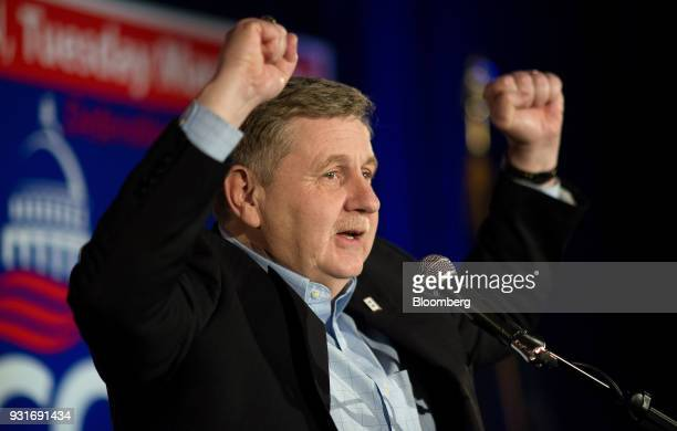 Rick Saccone Republican candidate for the US House of Representatives gestures after speaking to supporters during an election night rally in...