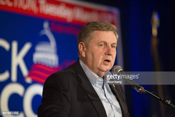 Rick Saccone Republican candidate for the US House of Representatives talks to supporters during an election night rally in Elizabeth Township...