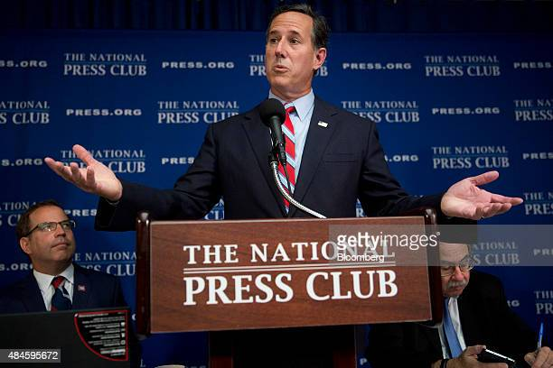 Rick Santorum former senator from Pennsylvania and 2016 Republican presidential candidate speaks during a news conference on the immigration system...