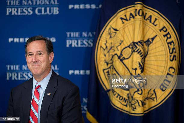 Rick Santorum former senator from Pennsylvania and 2016 Republican presidential candidate waits to speak at a news conference on the immigration...