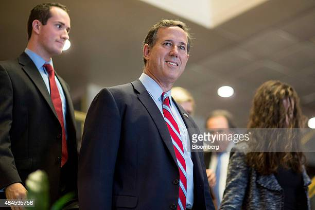 Rick Santorum former senator from Pennsylvania and 2016 Republican presidential candidate center arrives to speak at news conference on the...