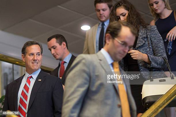 Rick Santorum former senator from Pennsylvania and 2016 Republican presidential candidate left arrives to speak at news conference on the immigration...