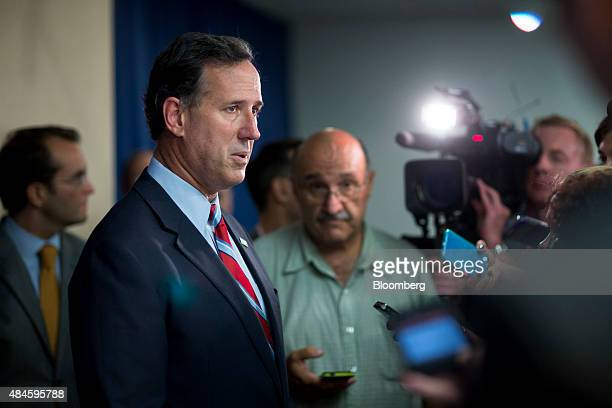 Rick Santorum former senator from Pennsylvania and 2016 Republican presidential candidate speaks to the media after a news conference on the...