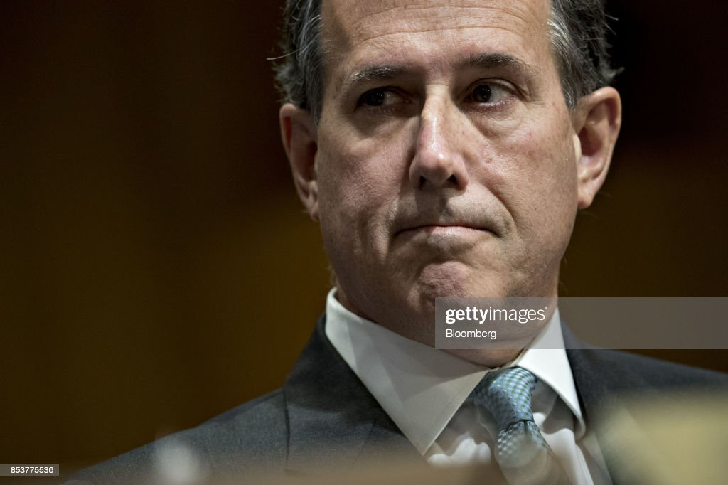 Rick Santorum, former senator from Pennsylvania, listens during a Senate Finance Committee hearing to consider the Graham-Cassidy-Heller-Johnson proposal in Washington, D.C., U.S., on Monday, Sept. 25, 2017. Senators sponsoring a last-ditch Obamacare repeal bill raced to save it from near-certain death Sunday, circulating a new version aimed at winning over several GOP holdouts. Photographer: Andrew Harrer/Bloomberg via Getty Images