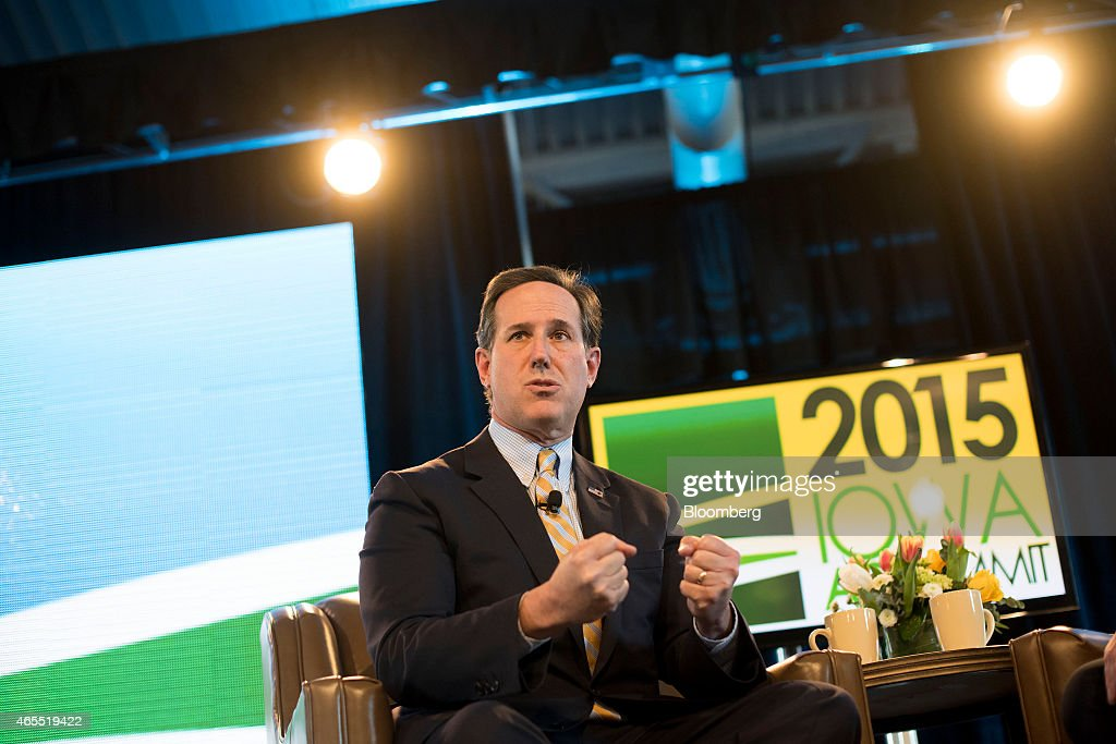 Rick Santorum, former senator of Pennsylvania, speaks during the Iowa Ag Summit at the Iowa State Fairgrounds in Des Moines, Iowa, U.S., on Saturday, March 7, 2015. The event aims to highlight the role that agriculture plays in Iowa and the rest of the world. Photographer: Daniel Acker/Bloomberg via Getty Images
