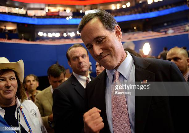 Rick Santorum, former U.S. Senator and Republican presidential candidate, gestures at the Republican National Convention in Tampa, Florida, U.S., on...