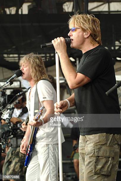 Rick Savage and Joe Elliott of Def Leppard during LIVE 8 - Philadelphia - Rehearsals at Philadelphia Museum of Art in Philadelphia, Pennsylvania,...