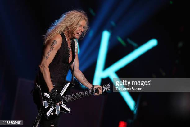 Rick Savage of Def Leppard performs at TMobile Arena on September 21 2019 in Las Vegas Nevada
