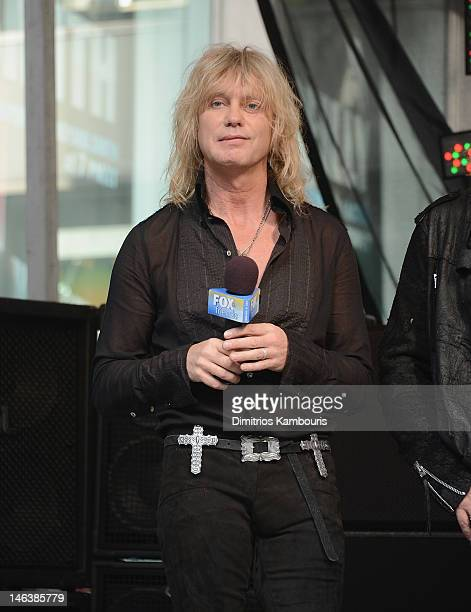 """Rick Savage of Def Leppard performs during """"FOX & Friends"""" All American Concert Series at FOX Studios on June 15, 2012 in New York City."""