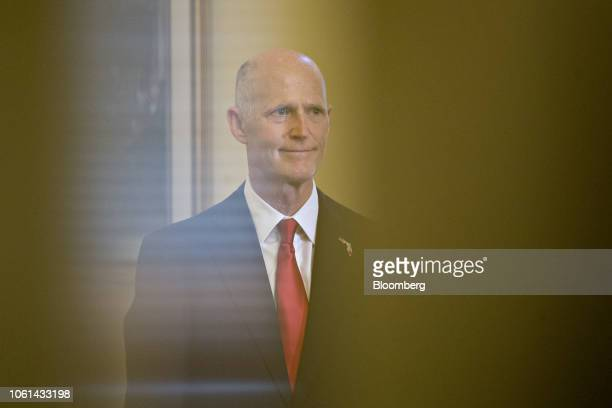 Rick Scott governor of Florida stands for videographers at the US Capitol in Washington DC US on Wednesday Nov 14 2018 Congress returns to work this...
