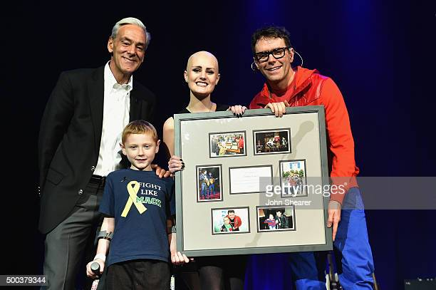 Rick Shadyac President and CEO of ALSAC/St Jude Children's Research Hospital St Jude patients Mack Ward and Allie Allen and Bobby Bones during The...