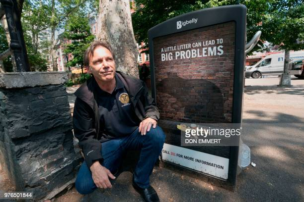Rick Simeone director of pest control for New York City's health department poses for photos in Sara D Roosevelt Park in China Town June 7 2018 in...