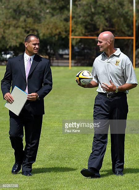 Rick Smith GMCommercial Services of Rugby WA and John Mitchell talk at the announcement of Mitchell to the coaching position for Western Australia's...