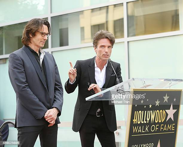 Rick Springfield and Richard Marx attend the ceremony honoring Rick Springfield with a Star on The Hollywood Walk of Fame on May 9 2014 in Hollywood...