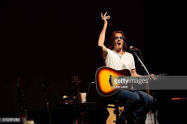 Rick Springfield performs on stage during the 'Stripped Down' tour at Mount Airy Casino Resort on April 18, 2015 in Mount Pocono, Pennsylvania.