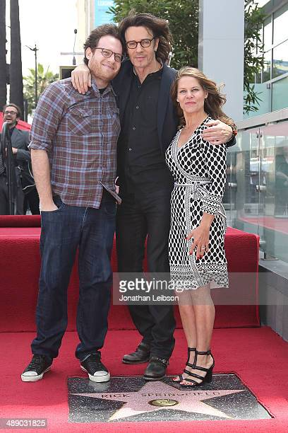 Rick Springfield poses with wife Barbara Porter and son at the ceremony honoring Rick Springfield with a Star on The Hollywood Walk of Fame on May 9...