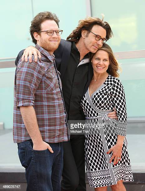 Rick Springfield posing with wife Barbara Porter and son at the ceremony honoring Rick Springfield with a Star on The Hollywood Walk of Fame on May 9...