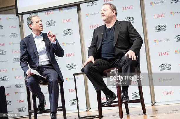 Rick Stengel and Harvey Weinstein speaks during the Creativity Conference at the Corcoran Gallery of Art on April 26 2013 in Washington DC