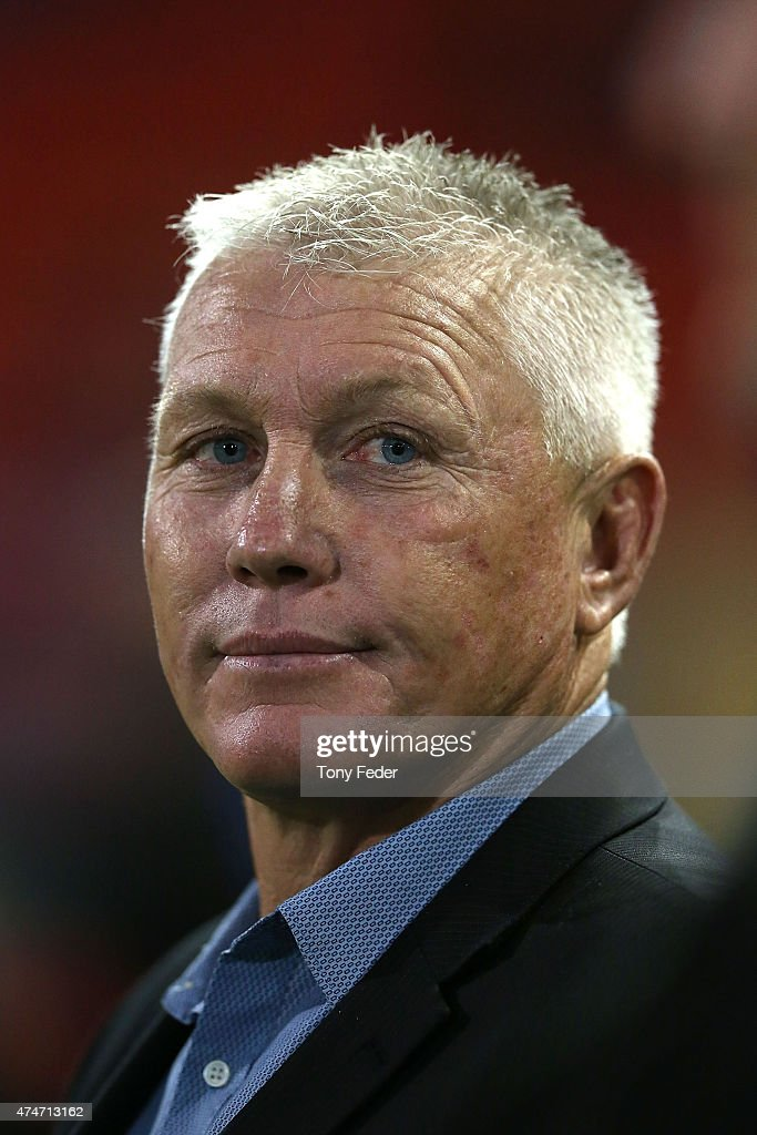 Rick Stone coach of the Knights during the round 11 NRL match between the Newcastle Knights and the Brisbane Broncos at Hunter Stadium on May 25, 2015 in Newcastle, Australia.