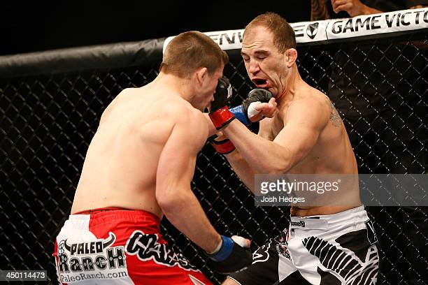 Rick Story punches Brian Ebersole in their welterweight bout during the UFC 167 event inside the MGM Grand Garden Arena on November 16 2013 in Las...