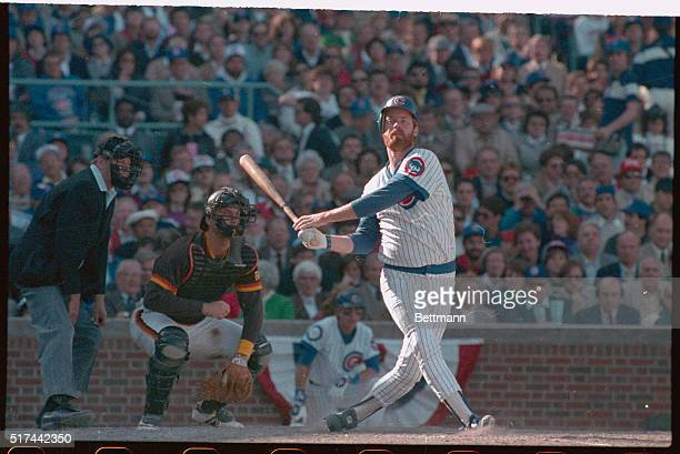 Rick Sutcliffe pitcher for the Chicago Cubs hit a home run in the third inning of the first game of the National League Playoffs against the San...