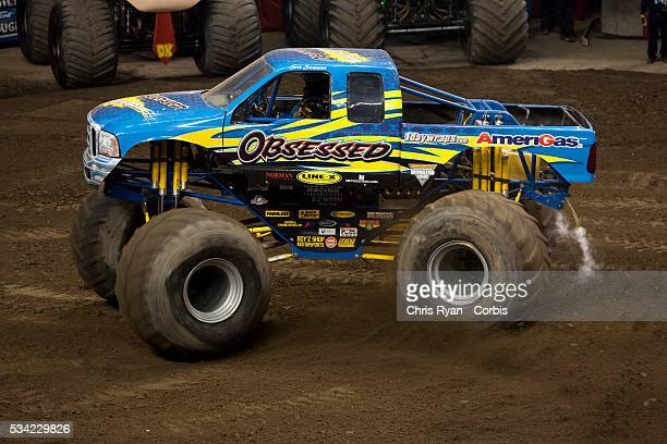 Rick Swanson and Obsessed freestyle during a Monster Jam event at Rose Garden arena in Portland