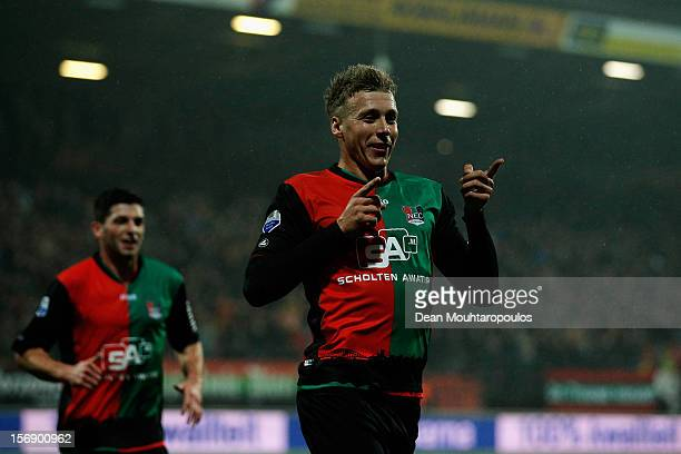 Rick ten Voorde of NEC celebrates scoring the first goal of the game during the Eredivisie match betwee NEC Nijmegen and FC Utrecht at the McDOS...