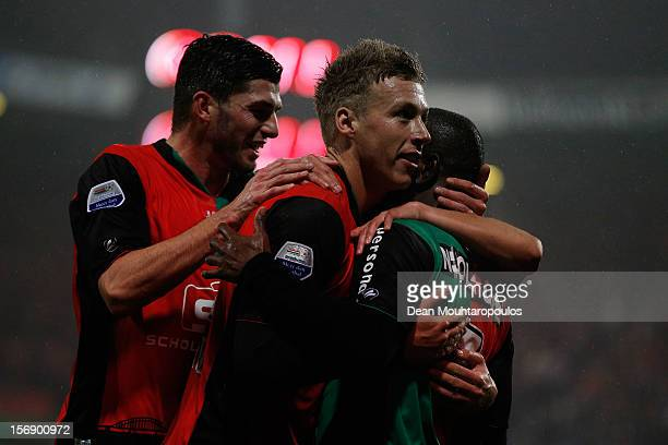 Rick ten Voorde of NEC celebrates scoring the first goal of the game with team mates during the Eredivisie match betwee NEC Nijmegen and FC Utrecht...