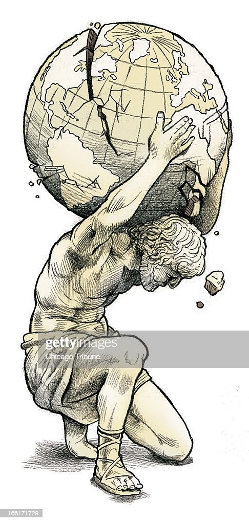 Rick Tuma color illustration of Greek statue holding crumbling globe on his  shoulders; can be