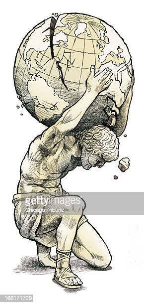 Rick Tuma color illustration of Greek statue holding crumbling globe on his shoulders can be used with stories about Greek financial crisis affecting...