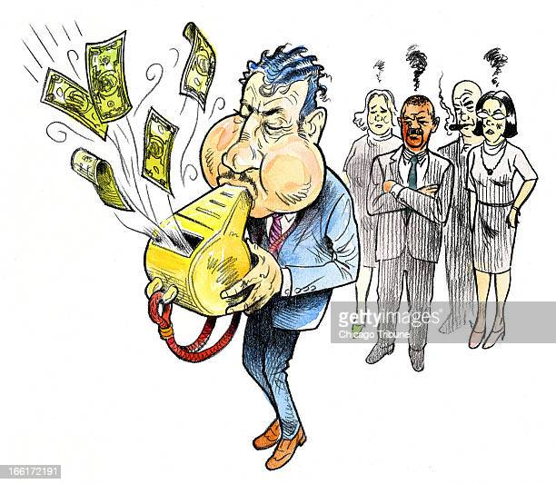 Rick Tuma color illustration of man blowing money out of a giant whistle as coworkers look on can be used with stories about financial rewards for...