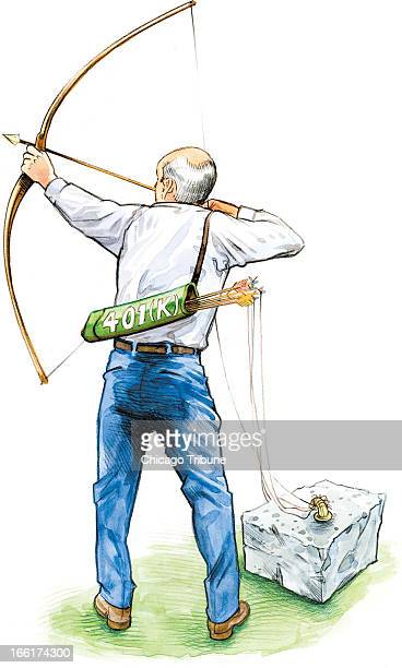 Rick Tuma color illustration of shows elderly archer with a quiver of arrows with the words 401 tied with strings to a cement block