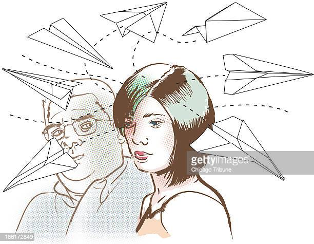 Rick Tuma illustration of paper airplanes flying around a distracted couple can be used with stories on Attention Deficit Hyperactivity Disorder's...