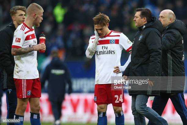 Rick van Drongelen and Gotoku Sakai of Hamburg appears frustrated after the Bundesliga match between Hamburger SV and Hertha BSC at Volksparkstadion...