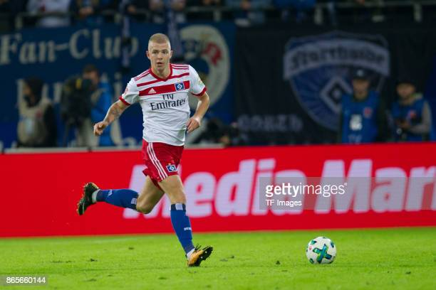 Rick van Drongelen of Hamburg controls the ball during the Bundesliga match between Hamburger SV and FC Bayern Muenchen at Volksparkstadion on...