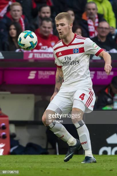 Rick van Drongelen of Hamburg controls the ball during the Bundesliga match between FC Bayern Muenchen and Hamburger SV at Allianz Arena on March 10...