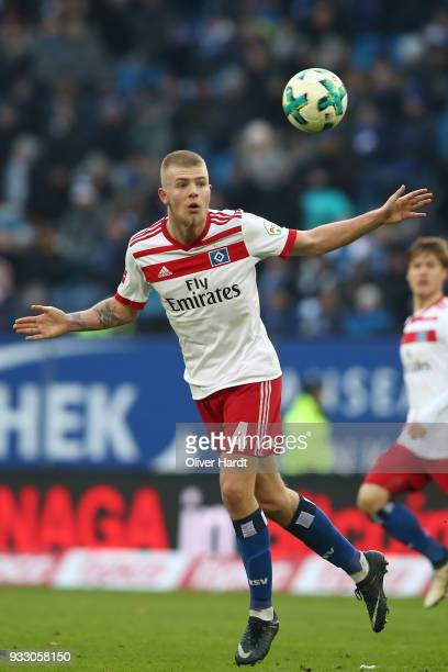 Rick van Drongelen of Hamburg in action during the Bundesliga match between Hamburger SV and Hertha BSC at Volksparkstadion on March 17 2018 in...