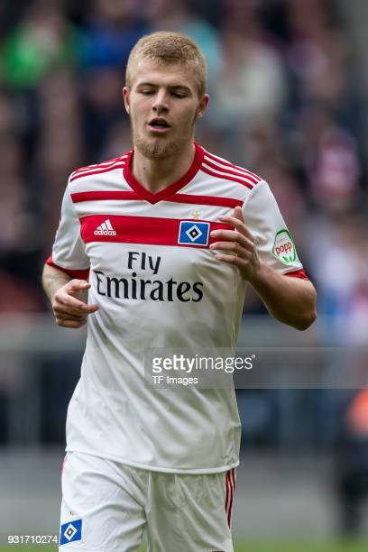 Rick van Drongelen of Hamburg looks on during the Bundesliga match between FC Bayern Muenchen and Hamburger SV at Allianz Arena on March 10 2018 in...