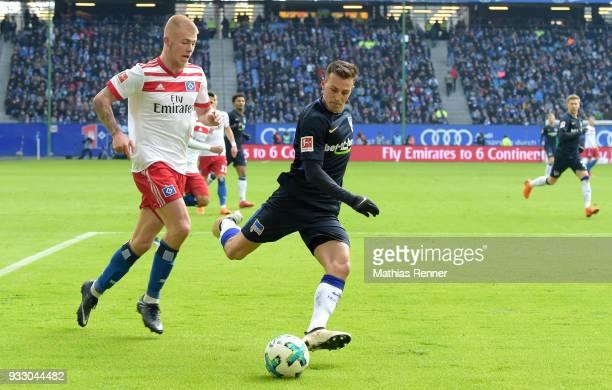 Rick van Drongelen of Hamburger SV and Vladimir Darida of Hertha BSC during the Bundesliga game between Hamburger SV and Hertha BSC at...