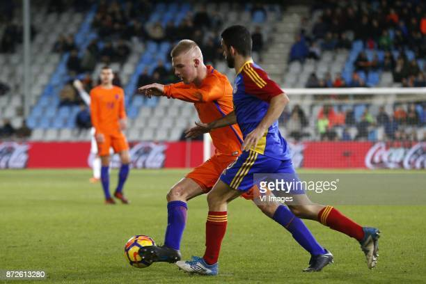Rick van Drongelen of Jong Oranje Jordi Alaez of Jong Andorra during the EURO U21 2017 qualifying match between Netherlands U21 and Andorra U21 at...